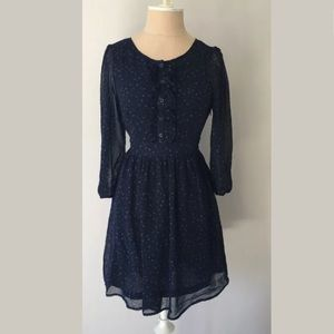 Forever 21 Navy Floral 3/4 Sleeve Dress, Size S